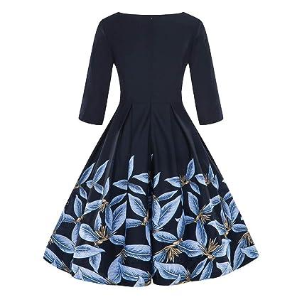 18f82bc0c Amazon.com: Hunzed Women【Half Sleeve Swing Skirt】Clearance Women's Round  Neck Dress Flower Print A Line Tea Dress: Office Products