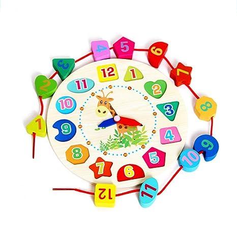 ZARRS Juguete de Reloj de Madera,Reloj de Enseñanza Clasifica Piezas de Números Juegos Educativos