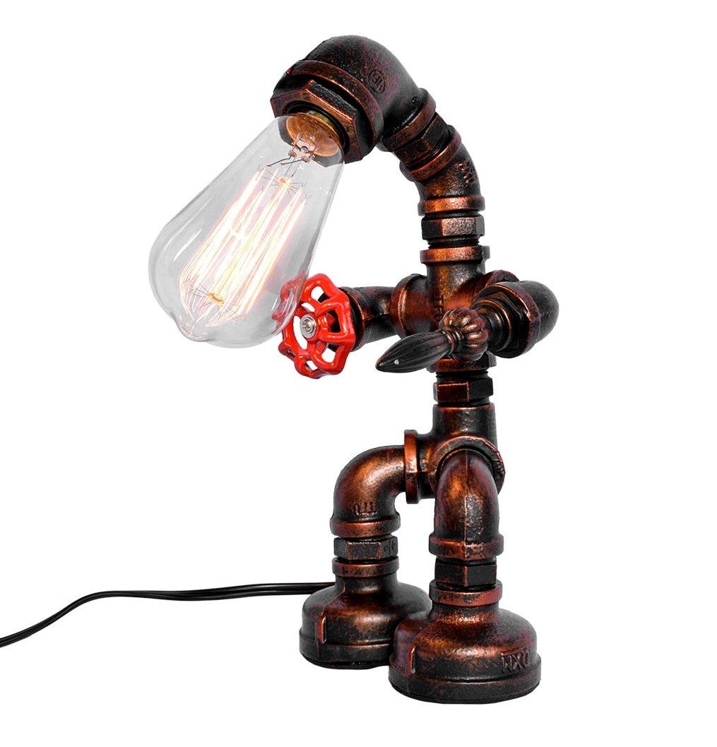 ویکالا · خرید  اصل اورجینال · خرید از آمازون · OYI Industrial Retro Style Rust Iron Robot Plumbing Pipe Desk Table Lamp Light with Red Valve Handle and Switch wekala · ویکالا