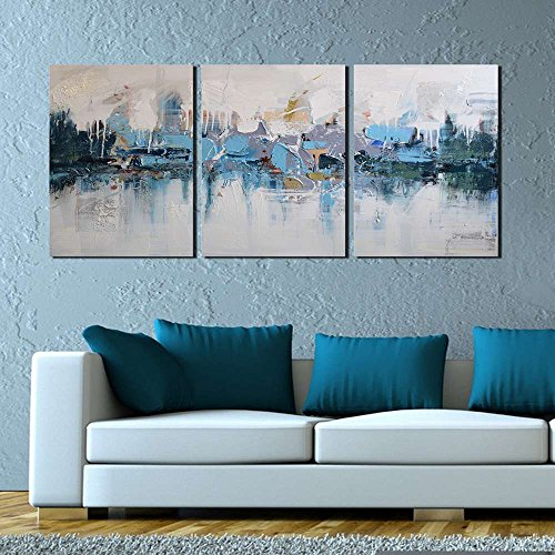 ARTLAND Modern 100% Hand Painted Framed Abstract Oil Painting Blue Villages 3-Piece Gallery-Wrapped Wall Art on Canvas Ready to Hang for Living Room for Wall Decor Home Decoration 24x48inches by ARTLAND