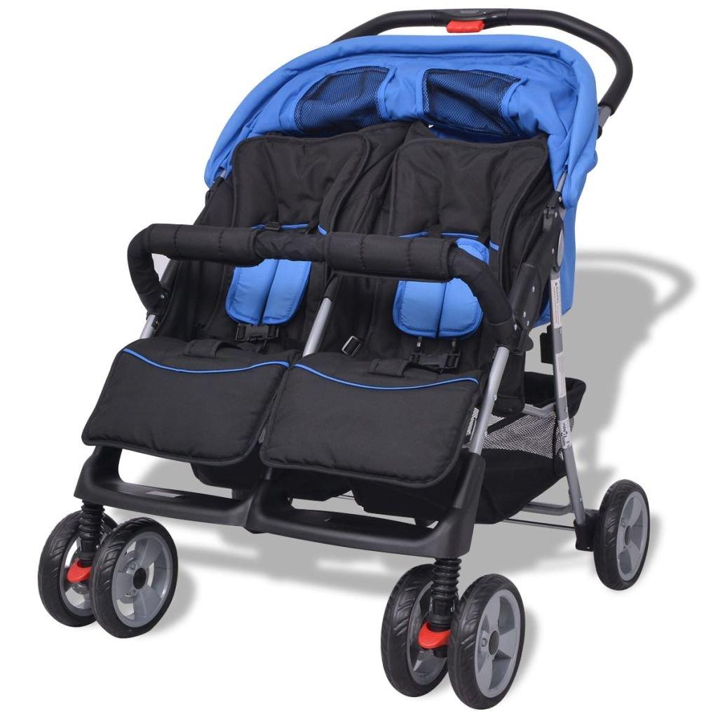 vidaXL Carrito para Gemelos dAcero y Tela Oxford Azul Negro Cochecito Bebés