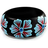 Black Wood Light Blue Floral Band Ring