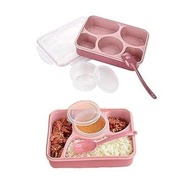 可愛いお弁当箱 ランチボックス 5+1区仕切りコンテナ お茶碗 スプーン付き