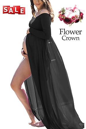 Womens Off Shoulder Chiffon Maxi Pregnancy Sexy Premium Dress For