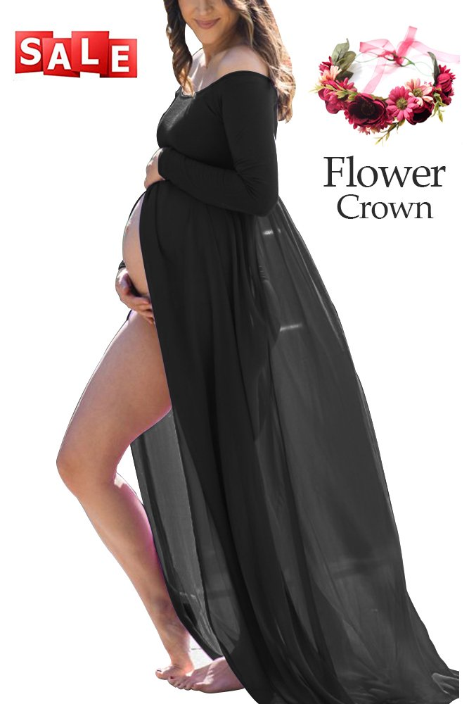 Women's Premium Maternity Photography Dress Stretchy Long Sleeve Chiffon Split Front Photoshoot Baby Shower (Medium, F-Black)