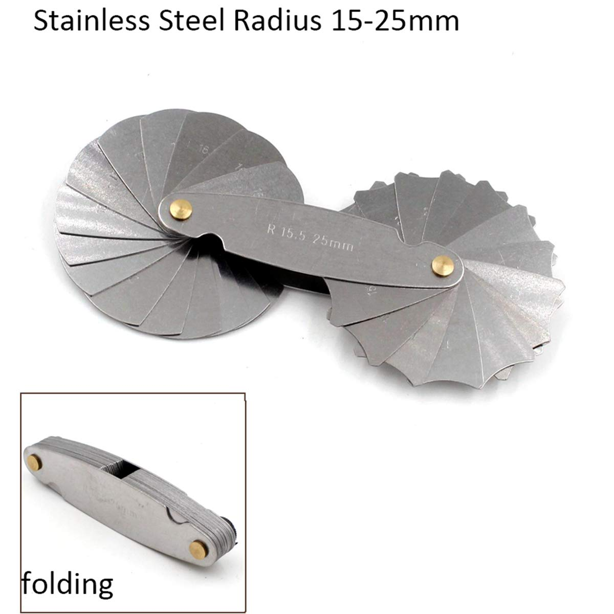 Foldable 32 Blades Stainless Steel Radius Gauge R15-25mm Metric Measuring Tool