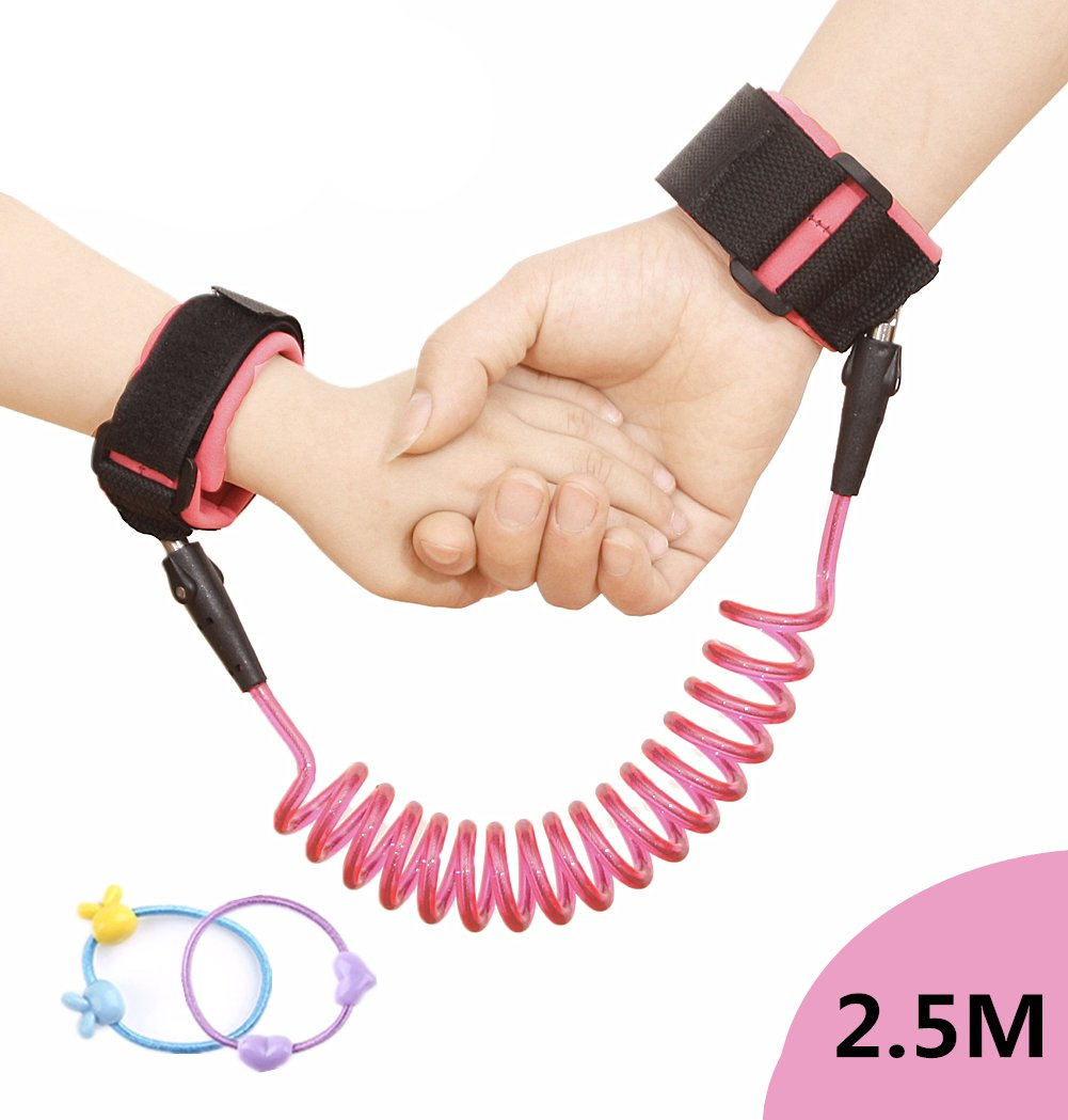 Second Generation Child Anti-Lost Wrist Link, Outdoor Safety Hook and Loop Wristband Leash for Kids Toddlers, Walking Handle Wrist Safety Harness Straps Rope 2.5M (Pink) SEALEN Anti-Lost Wristband Pink