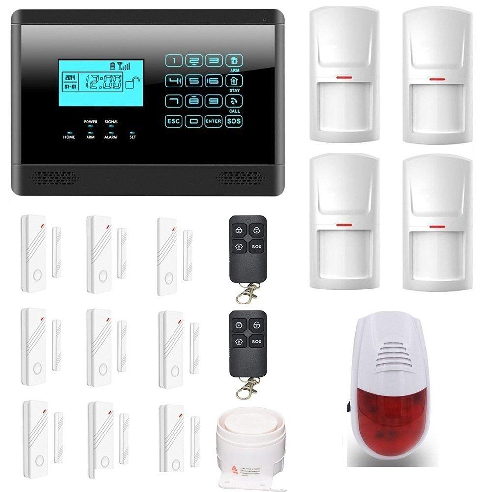 ATD® Sicherheit Verteidiger M2E drahtloses GSM Home Security Alarmanlage, es umfasst 4 Bewegungsmelder,9 Tür-Fenster-Sensoren,2 Fernbedienungen,1 verkabelte laute sirene und 1 Außensirene (schwarz)