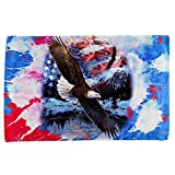 4th of July American Flag Bald Eagle Splatter All Over Hand Towel Multi Standard One Size