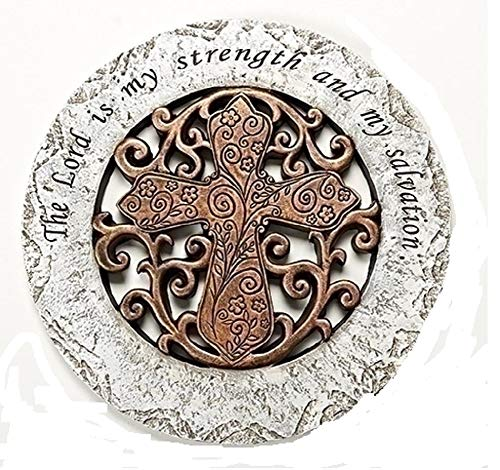 (The Lord is My Strength Bronze Cross 12 inch Resin Stone Decorative Stepping Stone)