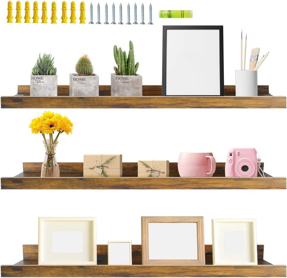Giftgarden 36 Inch Floating Wall Shelves Set of 3, Rustic Picture Ledge Shelf Decor for Bedroom Bathroom Living Room Kitchen, 3 Different Sizes