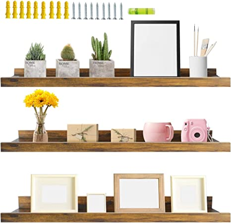 Amazon.com: Giftgarden 36 Inch Large Floating Shelves for Wall Set of 3,  Rustic Picture Ledge Wall Shelf for Bedroom Kitchen Bathroom Living Room  Nursery Display, 3 Different Sizes: Kitchen & Dining