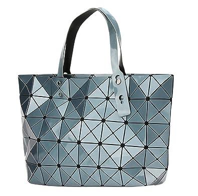 6ebffe6e43 Kayers Sulliva Women s Fashion Geometric Lattice Tote Glossy PU Leather  Shoulder Bag Top-handle Handbags