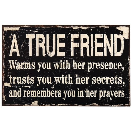 Adeco Decorative Wood Wall Sign Plaque A TRUE FRIEND Home Decor Art with Inspirational - 13.8x8.7 Inches