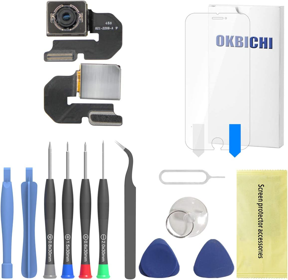 OKBICHI Rear Camera for iPhone 6 Plus (All Carriers) Back Camera Module Flex Cable Replacement - Repair Tools with Screen Protector