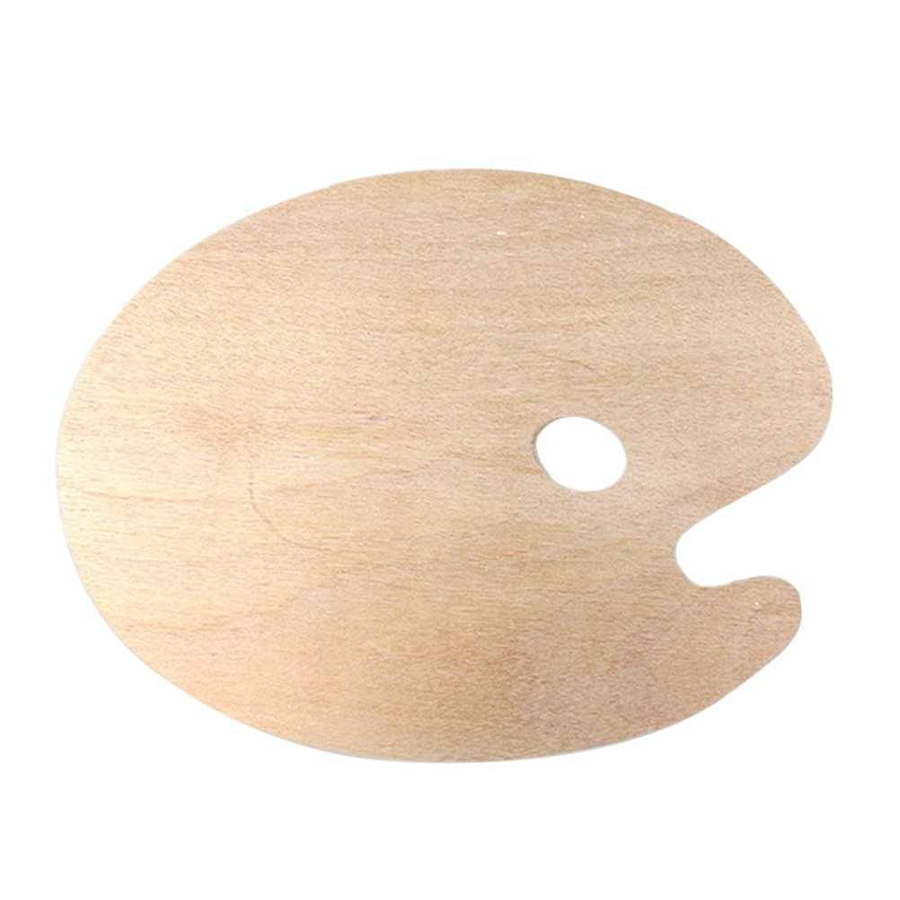ULTNICE Wooden Paint Palette Oil Paint Palette with Thumb Hole for Acrylic Watercolor Oil Paint Oval Shaped