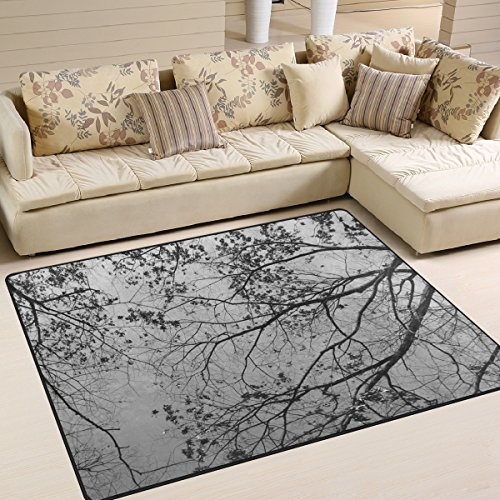 Naanle Winter Trees Area Rug 5'x7', Trees Leaves Polyester Area Rug Mat for Living Dining Dorm Room Bedroom Home Decorative