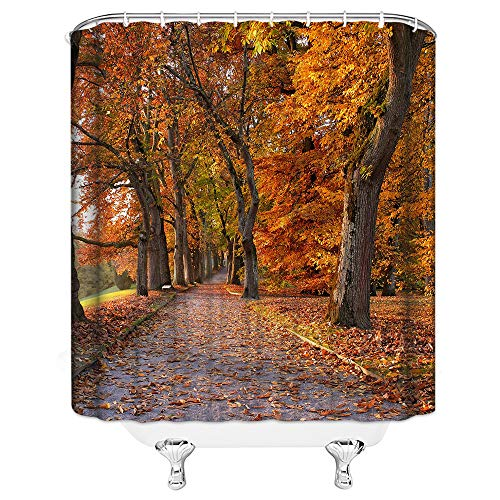 AMNYSF Fall Forest Shower Curtain Autumn Garden Scenic Trees Fallen Leaves on Road Nature Scenery Decor Orange Fabric Bathroom Curtains,Waterproof Polyester With Hooks 70x70 ()