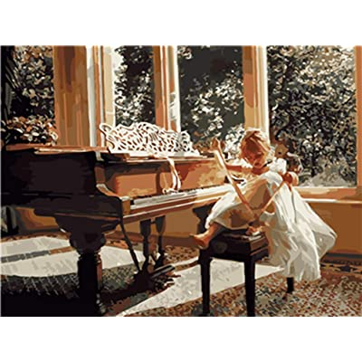 LoveTheFamily Piano and Girl Paint by Numbers Kits DIY Digital Painting Coloring On Canvas Oil Painting by Yourself Handmade (Frameless, 40x50cm): Toys & Games