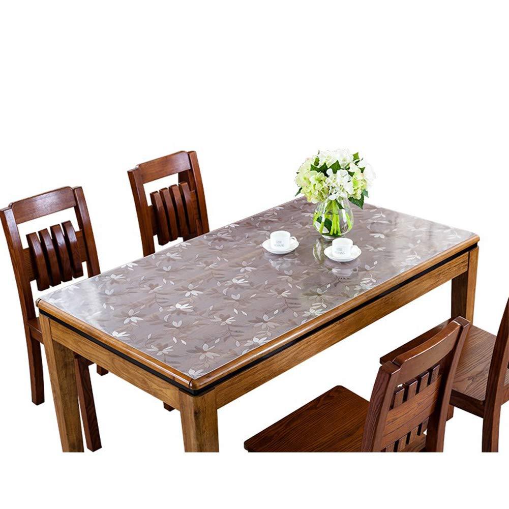 テーブルクロスPVC透明な印刷軟質ガラステーブルマット防水抗スケーリング使い捨て肥厚コーヒーテーブルテーブルマット(厚さ1.5mm、2.0mm),1.5MM,90*150CM 90*150CM 1.5MM B07RGFW7RF