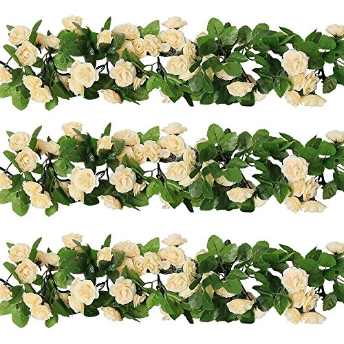Garland (YILIYAJIA 3PCS Artificial Rose Garlands, Silk Fake Rose Flowers Green Leaves Vine for Home Hotel Office Wedding Party Garden Craft Art Decor (champagne))
