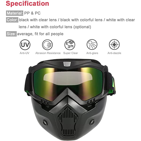 Fog-proof Windproof Open Face Helmet for Motocross Riding Skiing Outdoor Sports KOBWA Motorcycle Face Mask with Goggles