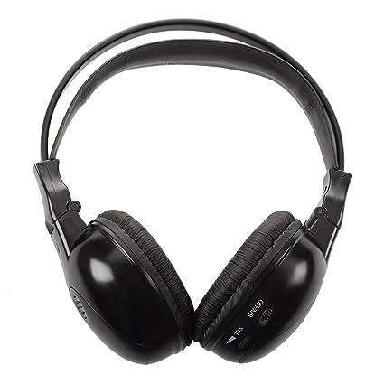 SODIAL Auriculares / audifonos estereo plegables infrarrojos auriculares inalambricos IR dual canales Reproductor de DVD reposacabezas