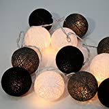 Design by UnseenThailand Handmade Cotton Ball String Lights Decoration (3metre 20 Globes/pack) Decor Wedding Bedroom Garden Spa and Holiday Lighting. (Black - Gray - White)