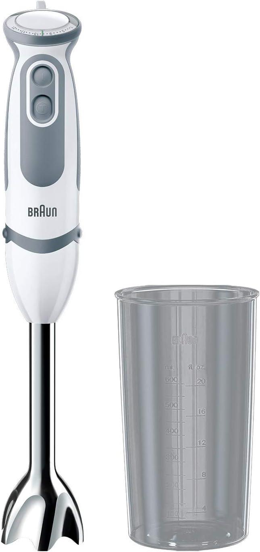 Braun Minipimer 5200 - Batidora de mano, 1000 W, 21 velocidades y función turbo, anti-salpicaduras, Powerbell Plus, incluye vaso medidor 600 ml, color blanco