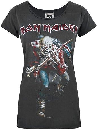 Amplified Iron Maiden Trooper 2 Womens T-Shirt: Amazon.es: Ropa y accesorios