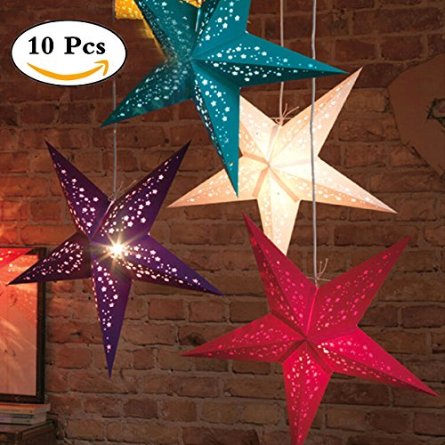 UUOUU Paper Star Lantern Lampshade 12 Inch Handmade Christmas Paper Star Pentagram Lampshade for Valentine's Day Wedding Party Home Hanging Decor(set of 10) (Paper Star Lantern)