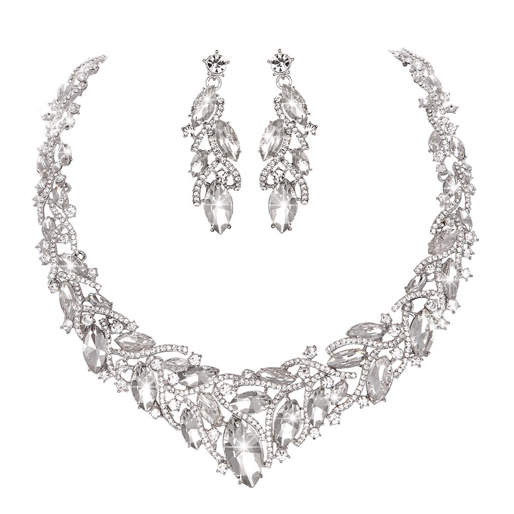 Youfir Women's Elegant Austrian Crystal Necklace and Earrings Jewelry Set for Wedding Dress (Clear)
