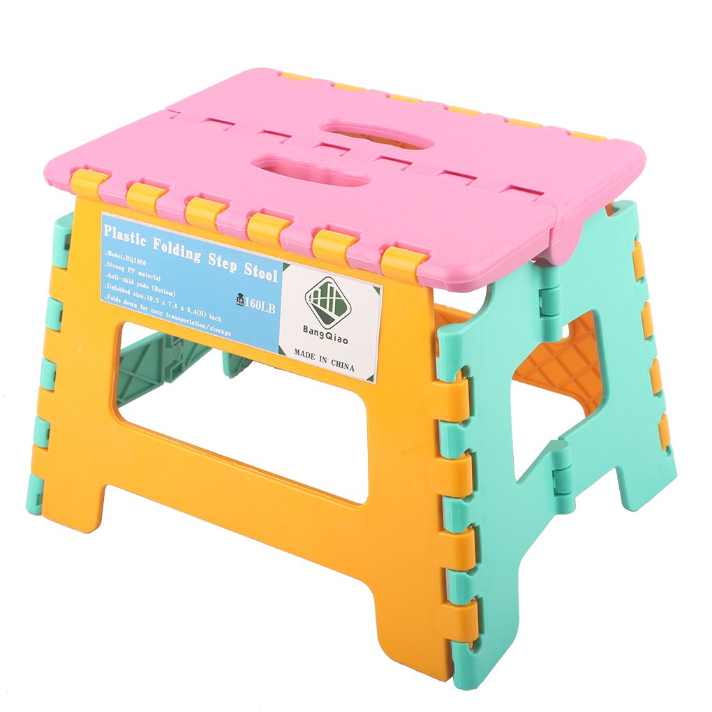 BangQiao Plastic Folding Step Stool for Kids and Teens,Multi Colors,8.4inch H