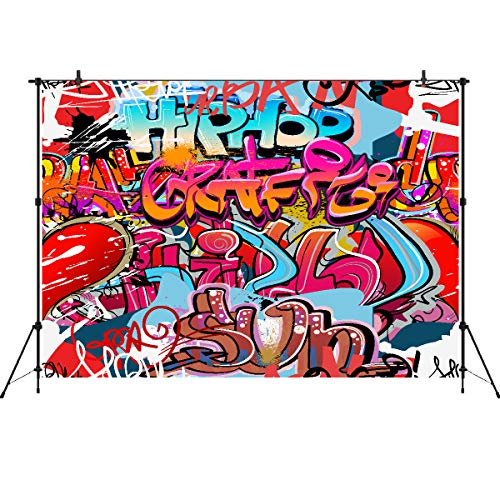 90s Themed Decorations (Hip Hop 90's Backdrops 7x5ft Vinyl Graffiti Photography Background Funky Art 80th 90th Themed Party Photo Banner)