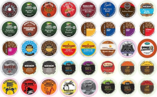 40-count K-cup for Keurig Brewers All REGULAR Coffee Variety Pack Featuring Tim Horton's, Green Mountain, Coffee People, Newman's Organic, Emerils, Guy Fieri, Marley, Donut Shop, Tully's & More