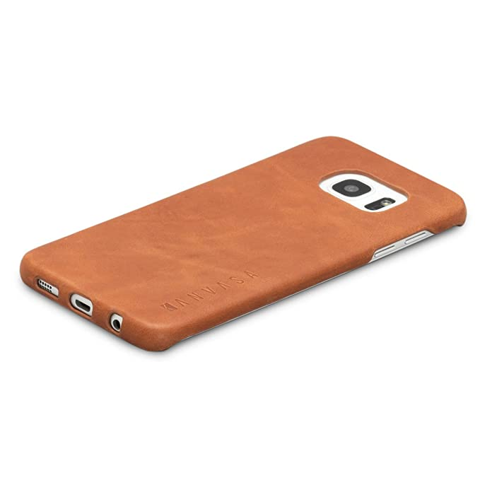 new style b767b f3851 Galaxy S7 Edge Leather Case Back Cover Brown - KANVASA
