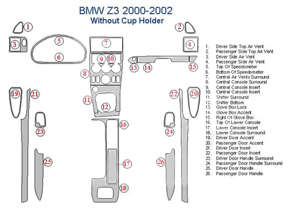 BMW Z3 Dash Trim Kit, Without Cup Holder - Marble Burlwood