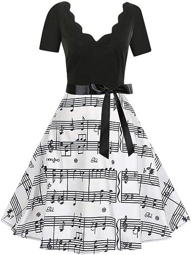Musical Note Printed Tea Dress Cocktail Party A-Line Midi Dresses Women Vintage Cap Sleeve Swing Dresses
