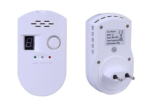ZEYUN Detector de alarma de gas, LPG/Detector de fugas de gas natural con pantalla digital para cocina de la casa Restaurante Hotel School Warehouse: ...