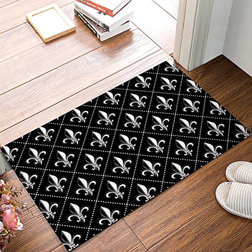 DaringOne Moroccan Tile Vintage Retro Fleur De Lis,Black and white Indoor/Outdoor Non-slip Rubber Welcome Mats Floor Rug for Bathroom/Front Entryway 20
