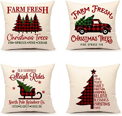 Set of 4 Farmhouse Buffalo Check Plaids Chr Christmas Pillow Covers 18x18 Inch