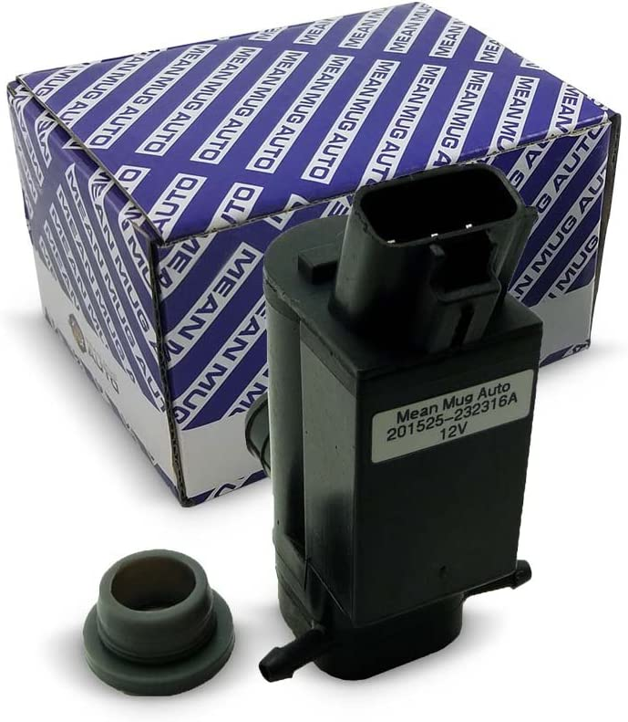 Mean Mug Auto 201525-232316A Windshield Washer Pump (Front & Rear) w/Grommet - For: Vehicles & More - Replaces OEM #: 85330-20470, 85330-12280, 85330-44010
