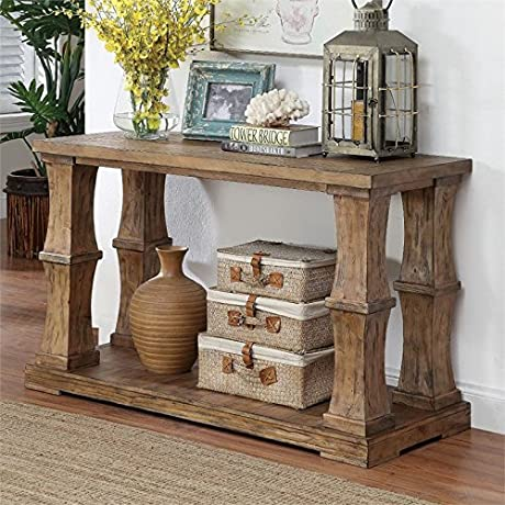 Furniture Of America Belassio Wood Panel Console Table In Natural Tone