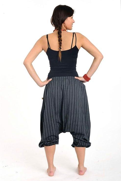 FANTAZIA Sarouel Pantacourt l/éger Venkat Noir Gris Noir Fabrication Ethique Depuis 2004 Estival Cr/é/é en France 100/% Coton Taille Unique Confortable /& Original