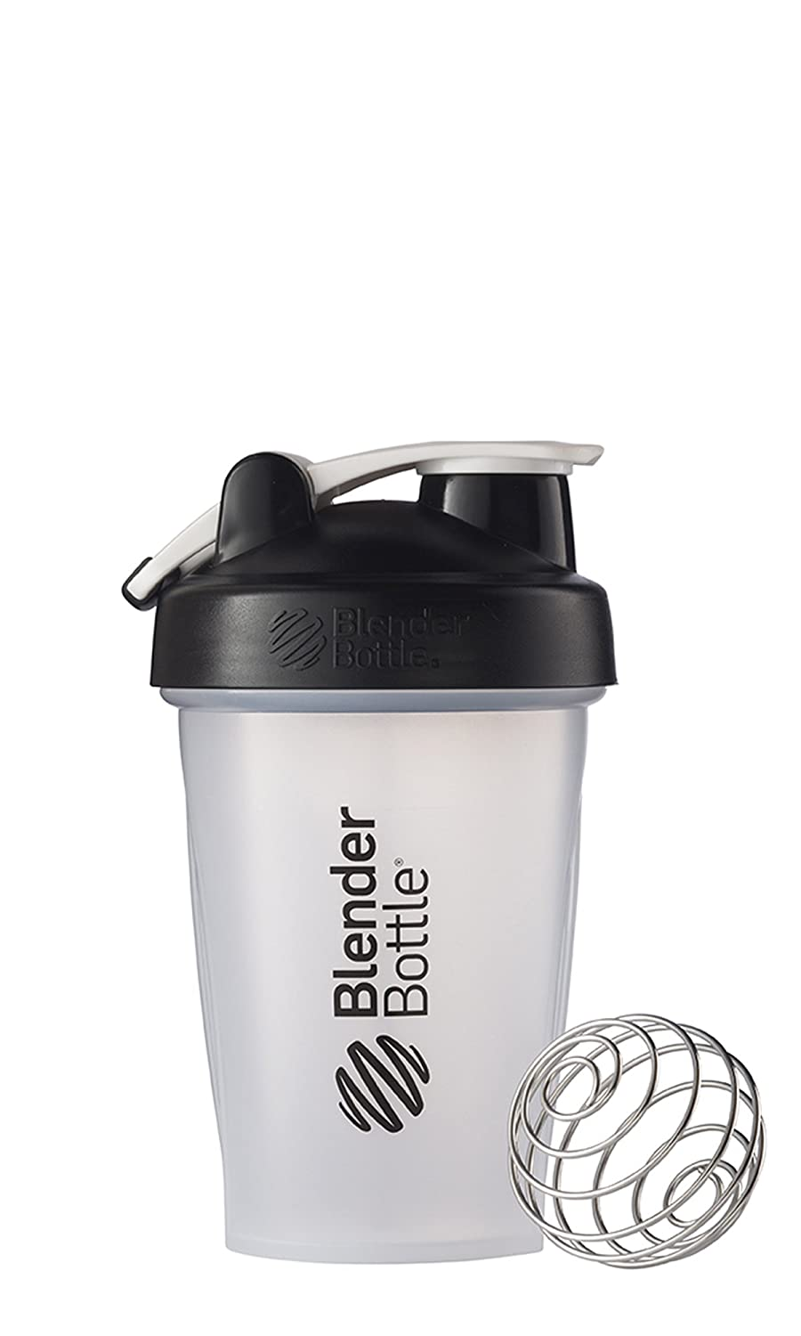 BlenderBottle C00581 Classic Shaker Bottle 20-Ounce Loop Top Clear/Black