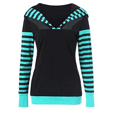 0c8d3f754c CharMma Women s Casual Mesh Panel Striped Print Long Sleeve Hooded  Sweatshirt (Black