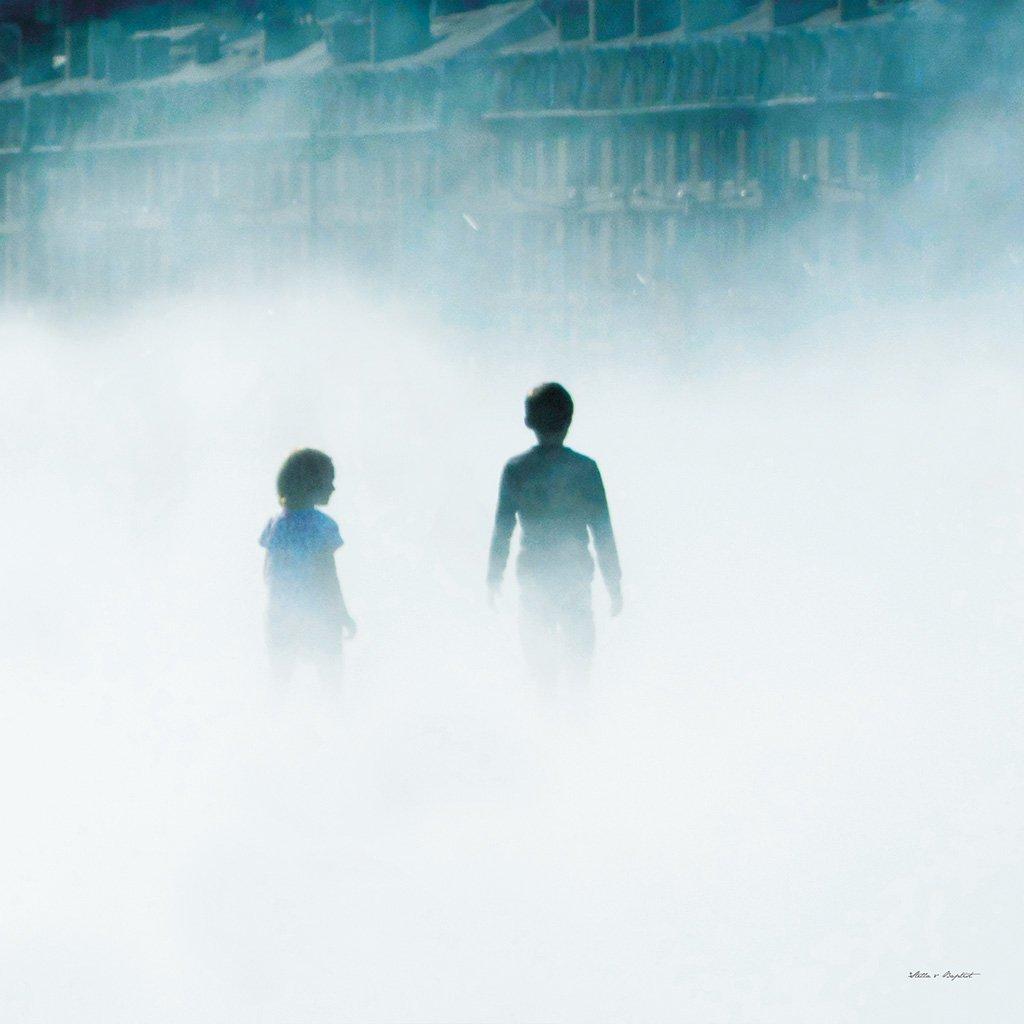 Im Nebel von Bordeaux 5 - Künstlermotiv, XXL Bild / Wandbild, Größe: 80 x 80 cm Quadrat, Druck auf Art Canvas Leinwand, Keilrahmen 2 cm. Frankreich Stadt Kind Mensch Himmel blau beige weiß groß Kunst