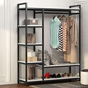 LITTLE TREE Free-Standing Closet Organizer,Heavy Duty Clothes Rack with 6 Shelves and Hanging Bar, Large Closet Storage System & Closet Garment Shelves,White
