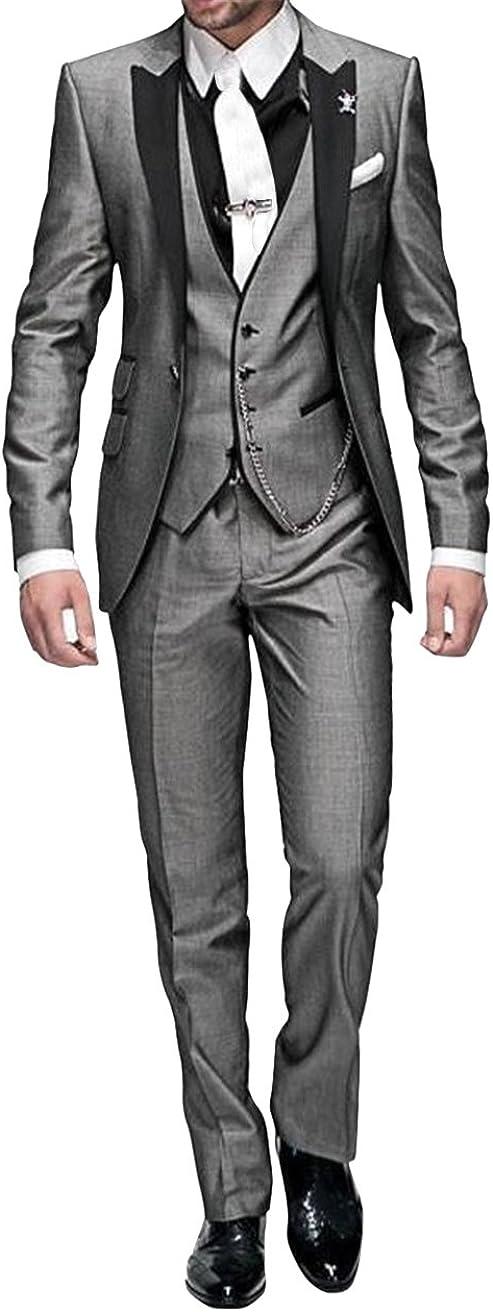 Chaqueta de Traje GEORGE BRIDE 002 con Bolsillos Traje de 5 Piezas para Hombre Corbata pantal/ón de Traje Chaleco