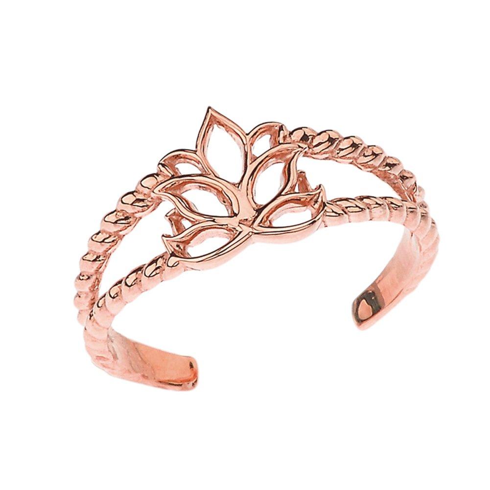 Fine 14k Rose Gold Lotus Flower Double Rope Toe Ring